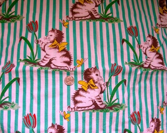 Vintage  Feedsack Cotton Quilting Fabric - ADORABLE  Kittens and Yellow Butterflies on Green Striped Background - 37 x 42