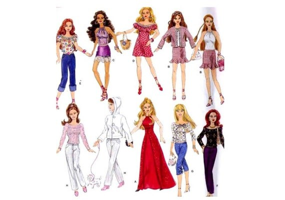 Barbie Wardrobe Sewing Pattern Simplicity 4702 Halter Top, Evening Gown, Hoodie and Jeans, Mini Skirt, Capris, Peasant Blouse