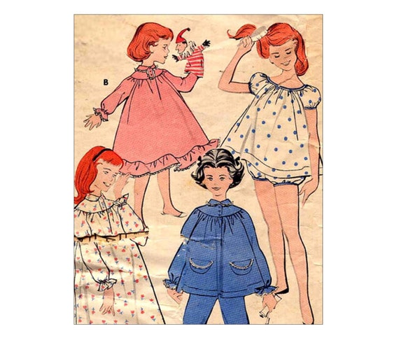 Vintage 1950s Girls Baby Doll Pajamas or Cozy Nightgown and PJ's Sewing Pattern Butterick 8251 Size 12