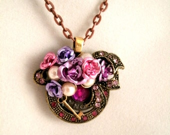 Roses and Rhinestones Pendant Key to my Heart Necklace Cottage Chic Repurposed