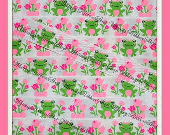 "New 1, 3 or 5 Yards 7/8 "" M2MG Pink Bright TULIPS & FROGS on White Grosgrain Ribbon for Hair tuxedo Bows trim Sewing trim collars"
