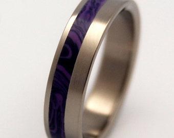 Titanium ring, Titanium wedding ring, wedding band, men's ring, woman's ring, purple, stone ring - STONE OF TRANSFORMATION