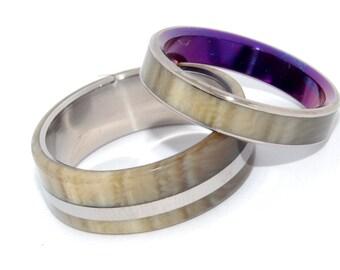 wedding rings, titanium rings, wood rings, mens rings, Titanium Wedding Bands, Eco-Friendly Rings, Wedding Rings - HAPPY LOVE
