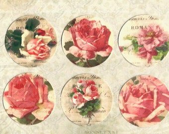 Vintage Style Stickers, Roses, Rose Stickers, Shabby Chic