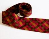 Vintage Plaid Salvatore Ferragamo Silk Tie - red orange green