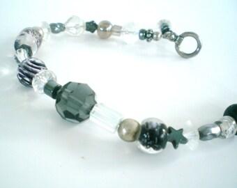 Bracelet Black Silver Glass Hematite Beaded