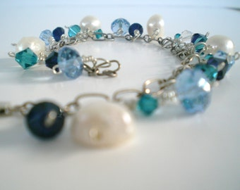 Bracelet Blue Turquoise Crystal Pearl Dangle wire wrapped