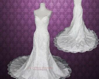 Destination Lace Wedding Dress Low Back A-line | Backless Wedding Dress | Vintage Style Wedding Dress