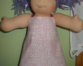 Pink Hopscotch Sun Dress - Waldorf Doll Clothes - 10 Inch Little Buddy Size - LB