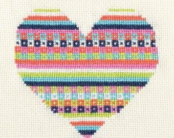Pattern - Candy Fairisle Valentine Heart Cross Stitch Chart PDF