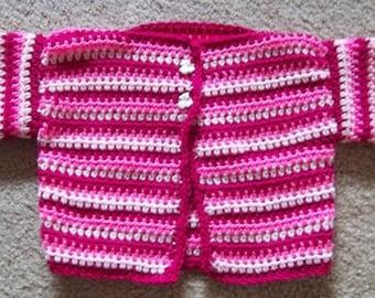 Sweater - Jacket - Crocheted Short Sleeve Jacket / Sweater for Girls / Toddler 4 Yrs