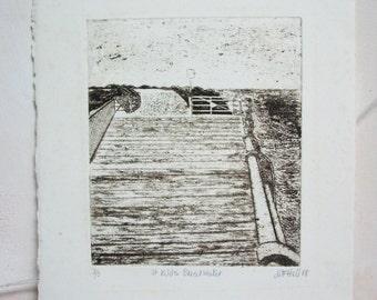 Original Art. Vintage Etching. St Kilda Breakwater.Australia. WFHall. No. 2. Edition of 5.