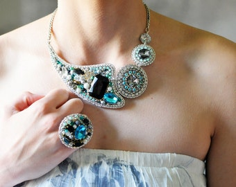 One of a kind statement necklace - can be made in a different colors