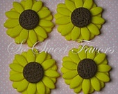 Fondant edible cupcake toppers - Sunflowers