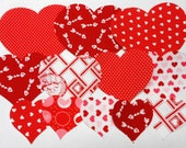 Red Hearts Fabric Appliques Iron on Fusible Fabric Hearts  Appliques