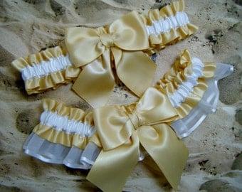 Gold White Satin Organza Bridal Wedding Toss Garter Set
