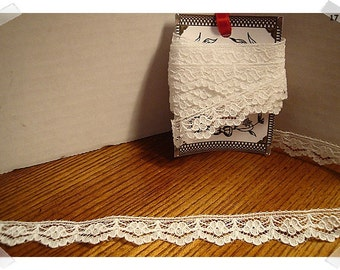 Lace Trim/White/ 4 & 1/2 yards/ Craft Supplies (#17)*