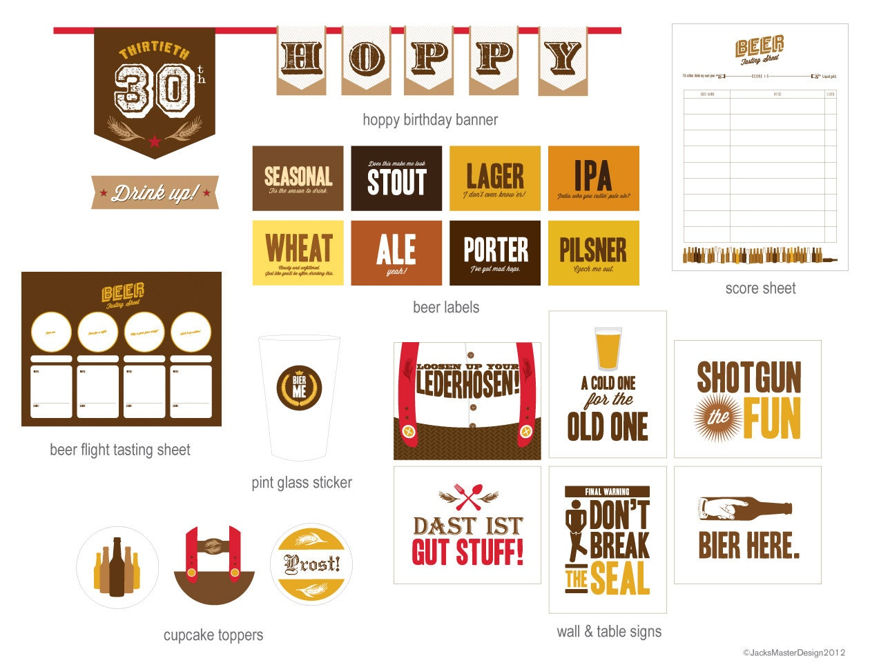These printables are free for your personal use for your own backyard beer tasting party. These printables consist of food label cards that can be filled out on your computer then printed or you can print and hand write the food items, with four printed to one page and I recommend you print them on card stock or thicker paper.