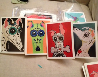 "Set of four 5x7"" Day of the Dead greyhound cards blank inside"