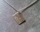 F*CK Cancer -- small rectangular pendant -- corner drilled --Sterling Silver (mature language)