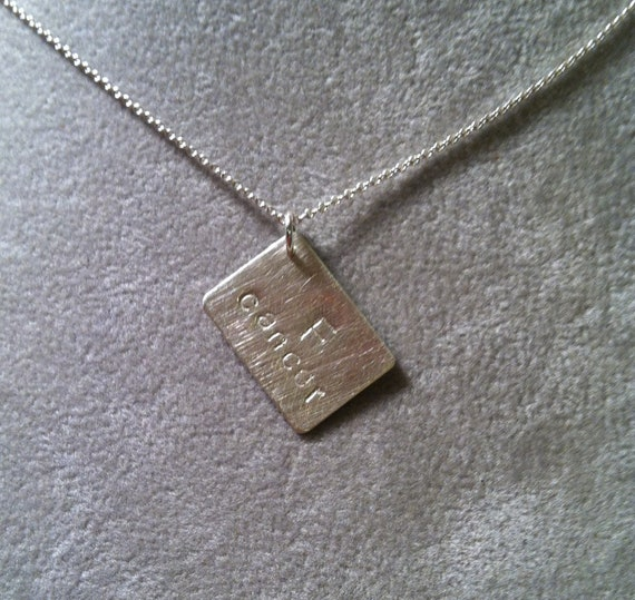 F Cancer -- small rectangular pendant -- corner drilled --Sterling Silver