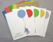 Baby Elephant with Orange-Red, Green, Yellow, Blue and Khaki Balloon Happy Birthday A2 Folded Cards (Set of 10)