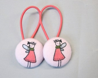 "1 1/8"" Size 45 Pink/Green Fairy Fabric Covered Button Hair Tie / Ponytail Holder / Party Favor (Set of 2)"