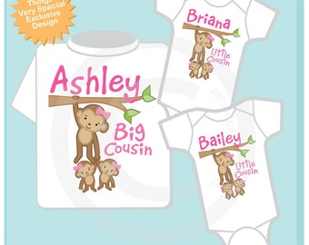 Set of three Cousin Monkey Shirt and twin Onesies, Big Cousin and Twin Baby Cousins,  Personalized Pregnancy Announcement (01112013b)