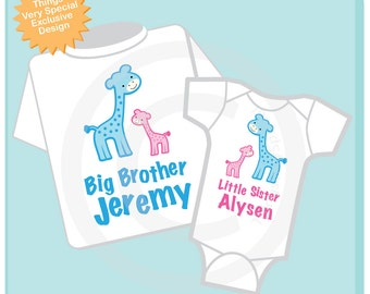Set of Two, Personalized Big Brother and Little Sister Giraffes Shirt and Onesie (04102013b)