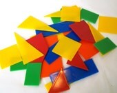 Flat Plastic  GeometricShapes in Square Box Assemblage Supply Altered Art Elements Game Pieces Destash