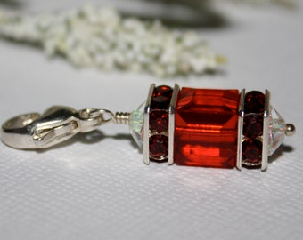 Birthstone Charm Dangle July Light Siam Ruby Charm Swarovski Crystal Cube Sterling Lobster Clasp Purse Charm Birthstone Jewelry Mother's Day