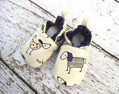 Classic Vegan Walk the Dog Purple All Fabric Soft Sole Baby Shoes / Made to Order / Babies