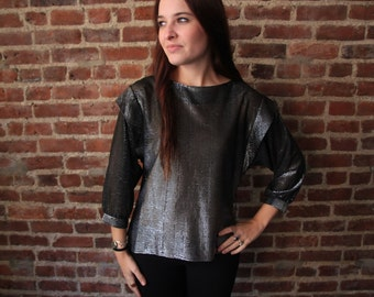 DISCO SHIMMER - Amazing Batwing 1970s Semi Sheer Lurex Shimmer Blouse S M