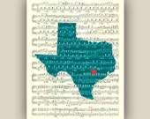Texas State Map Art Print, on old sheet music 11x14 Print, customizable hearted city, map silhouette wall art, home decor