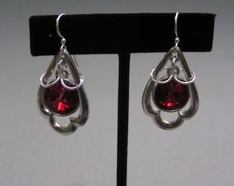 Red Rivoli Silver Trefoil Earrings