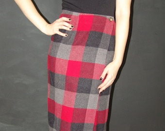 Vintage Plaid Wrap SKIRT, Old Navy, 1990s