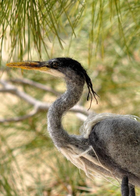 Needle Felted Bird. Blue heron