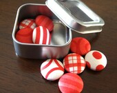 Red Fabric Button Magnets - Pattern Love