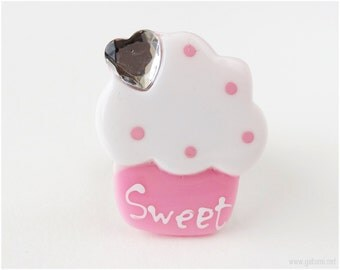 Huge Cupcake Ring, Pink, Adjustable - Sweet Lolita, Decora