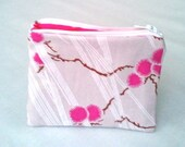 Zipper Pouch - Pink Cherry Blossoms with Hot Pink Lining