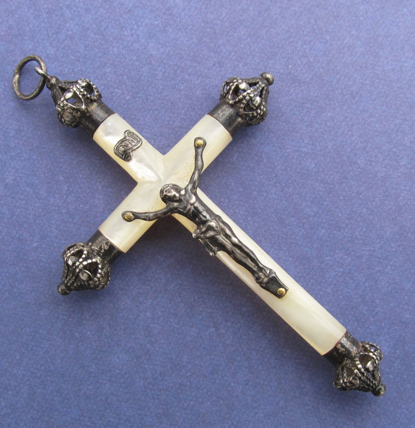 Catholic Crucifix Necklace: Antique French Sterling Silver And Mother Of Pearl Crucifix