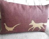 hand printed plum fox and pheasant cushion cover