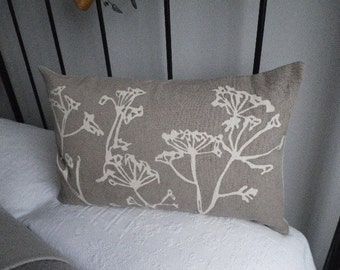 hand printed taupe cow parsley linen cushion cover
