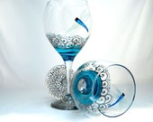 Turquoise Dragonfly Wine Glasses Hand Painted Glassware Goblets ~ 2