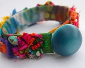 Psychedelic Flower Power Frayed and Twisted Fabric Beaded Bracelet