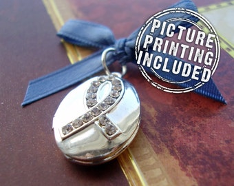 Memorial Photo Locket - Support Oval Silver Rhinestone Ribbon - Includes Picture Printing Service