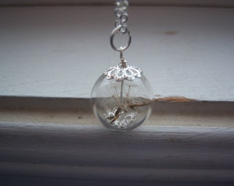 Dandelion Necklace - Dandelion Seed Necklace - Make A Wish Glass Orb necklace - Bridesmaid Gifts -  Free Gift With Purchase