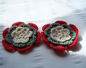 Crochet flower motif 2.5 inch cotton off white green red