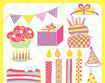 Birthdays Clip Art Digital Instant Download File  - birthday party hats, celebration, cake, cupcakes - Commercial Use