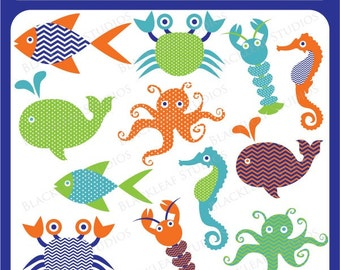 Sea Life - sea, whale, octopus, fish, crab, lobster, sea horse, ocean, marine, beach - Personal and Commercial Use Clip Art Instant Download